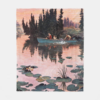 A Fine Catch by John Clymer Fleece Blanket