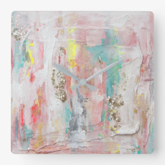 A Fine Day - Mixed Media Abstract Painting Square Wall Clock
