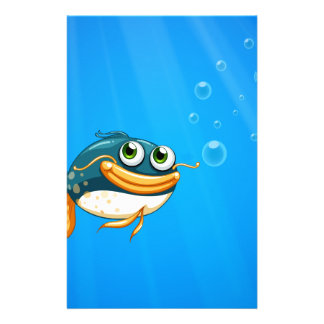 A fish with a big mouth under the ocean custom stationery
