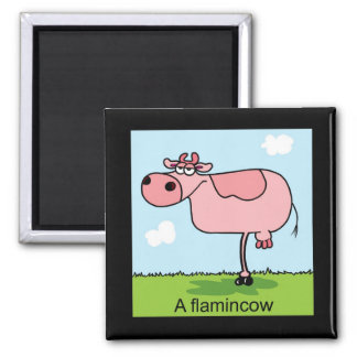 A Flamingcow Square Magnet