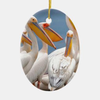 A Flock Of Pelicans Ceramic Ornament