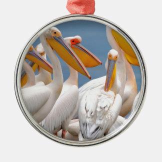 A Flock Of Pelicans Metal Ornament