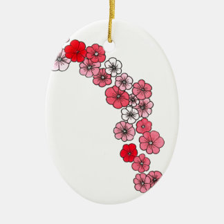 A floral garland in fifty or saves shades ceramic oval decoration