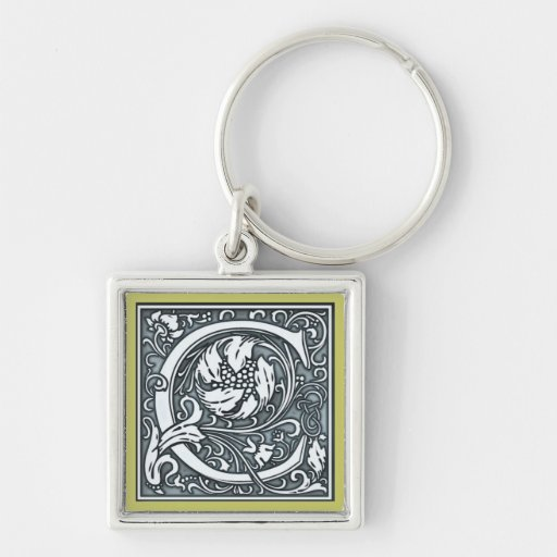 a flourish silver monogram - C Key Chains