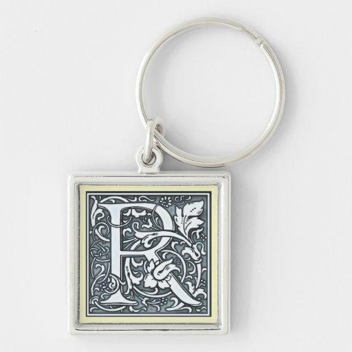 a flourish silver monogram - R Keychain