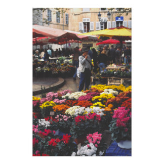 A flower stall, market day, Aix-en-Provence Poster