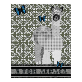 A For Alpaca Olive Damask Poster