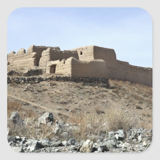 A fortified compound in the village of Akbar Kh Square Sticker