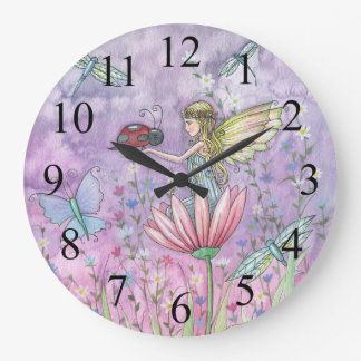 A Friendly Encounter Fairy and Ladybug Clock