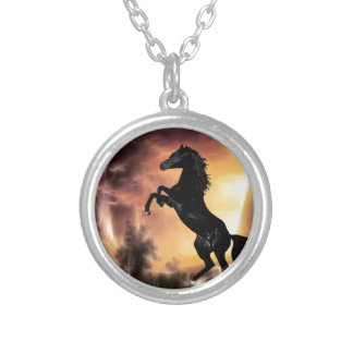 A Friesian Stallion horse rearing Silver Plated Necklace