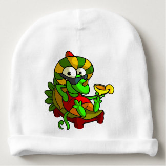 A frog playing the Guitar Baby Beanie