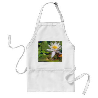A frog under a flower of water lily standard apron