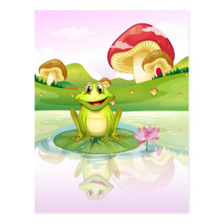 A frog watching his reflection from the water postcard