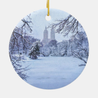 A Frozen Pond In Central Park Ceramic Ornament
