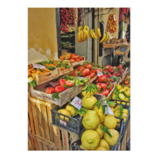 A fruit stand in Sorrento Italy Poster