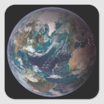 A full view of Earth showing global data 2 Square Sticker