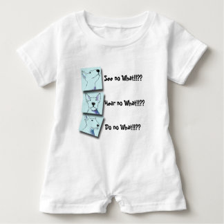 A fun baby blue and white Bullterrier Pop Art Baby Bodysuit