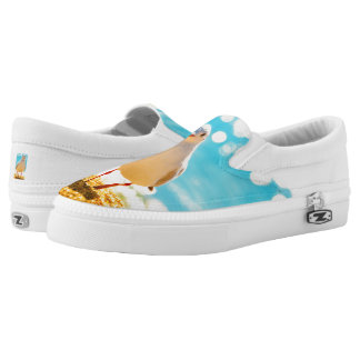 A fun shoe design with a seagull on a beach.