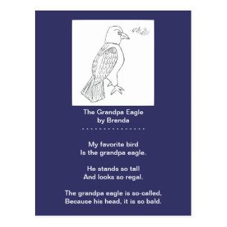 A Funny Bald Eagle Poem Postcard, Grandpa Eagle Postcard