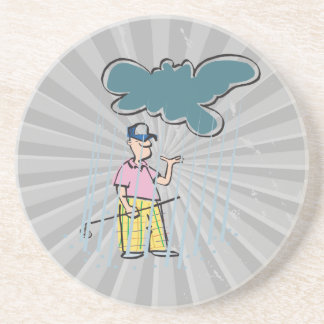 a funny golfer golfing in the rain beverage coaster