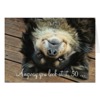 A Funny Happy 50th Birthday Card With a Cute Dog