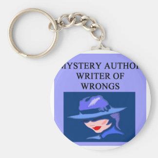 a funny mystery writer joke key ring