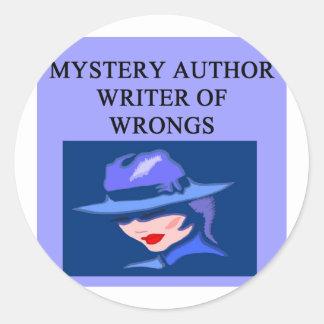a funny mystery writer joke round sticker