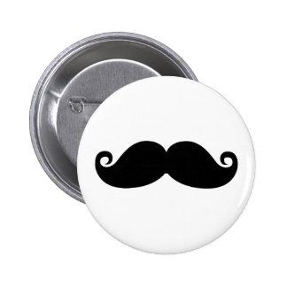 A funny vintage black mustache fashion design. 6 cm round badge