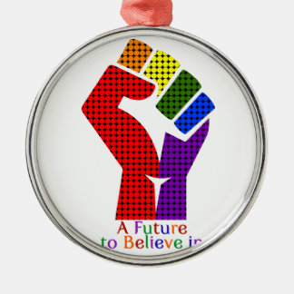 A Future to Believe in LGBT Silver-Colored Round Decoration