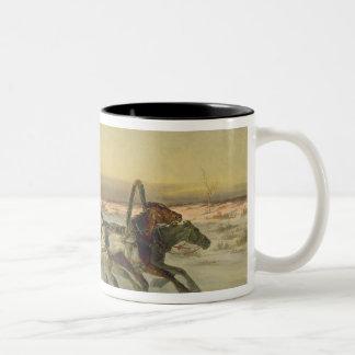 A Galloping Winter Troika at Dawn Two-Tone Coffee Mug