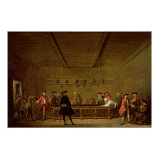 A Game of Billiards, c.1720-26 Poster
