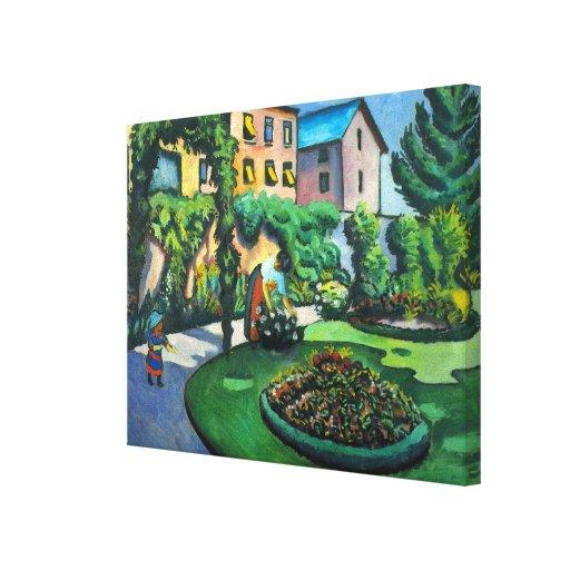 A Garden, Gartenbild, Macke, Vintage Expressionism Canvas Print