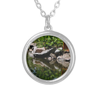 A Garden Pond in Summer Silver Plated Necklace