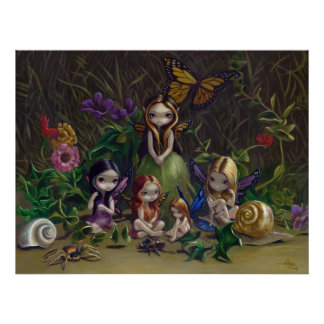 A Gathering of Faeries gothic fairy Art Print