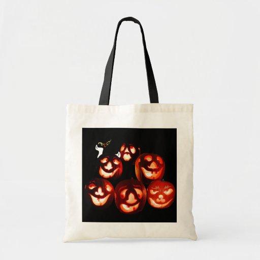 A gathering of Jack-o-lanterns tote bag