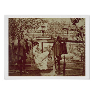 A Geisha being carried in a litter (sepia photo) Poster