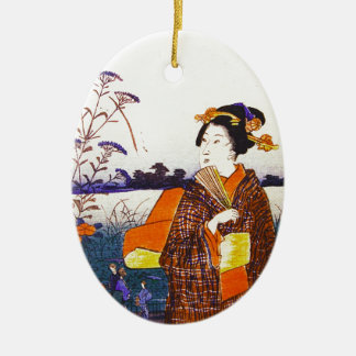 A Geisha By the Water Ceramic Ornament