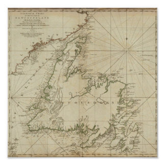 A General Chart Of The Island Of Newfoundland Poster