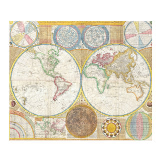 A General Map of the World by Samuel Dunn 1794 Stretched Canvas Prints