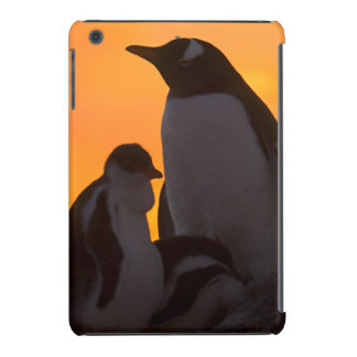 A gentoo penguin adult and chick are silhouetted iPad mini retina covers