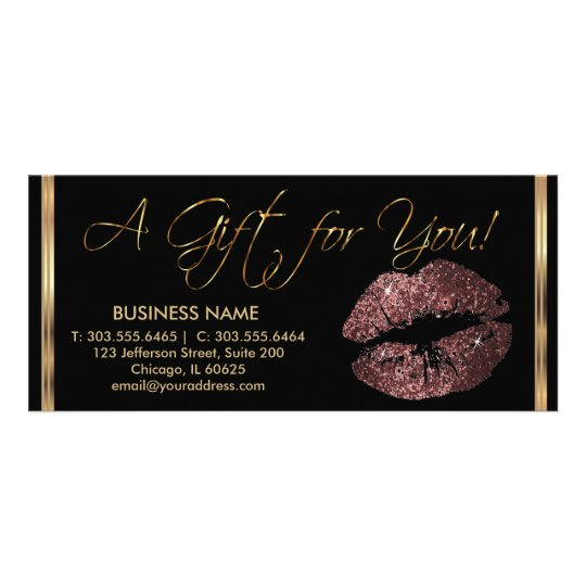 A Gift Certificate Dark Rose Lipstick Business 2 Customised Rack Card