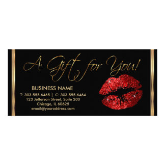A Gift Certificate Red Lipstick Business 2 Full Colour Rack Card