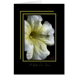 A Gift For You - White Flower on Black Greeting Card