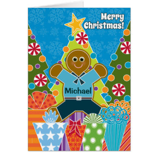 A Gingerbread Boy for Christmas Add a Name Greeting Card