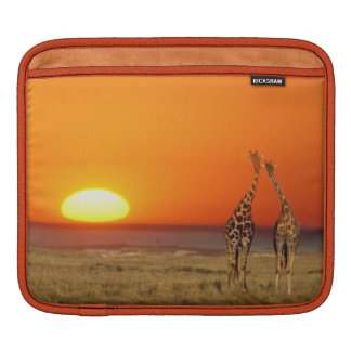 A Giraffe couple walks into the sunset, in iPad Sleeve