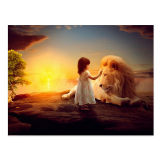 A Girl, A Lion - Imagination Postcard