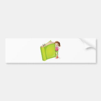 A girl and a book bumper stickers