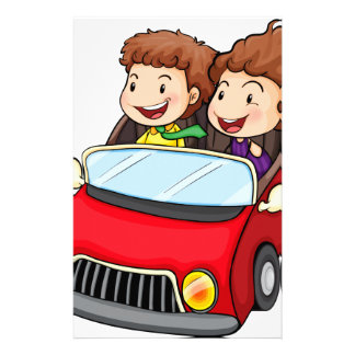 A girl and a boy riding in the red car stationery