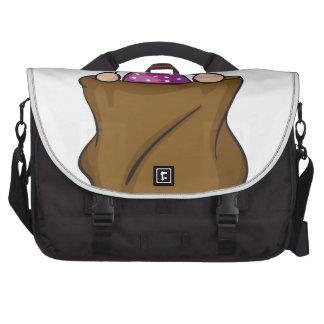 a girl and a burlap laptop commuter bag