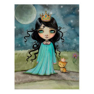 A Girl and Her Cat Cute Princess Fantasy Art Postcard